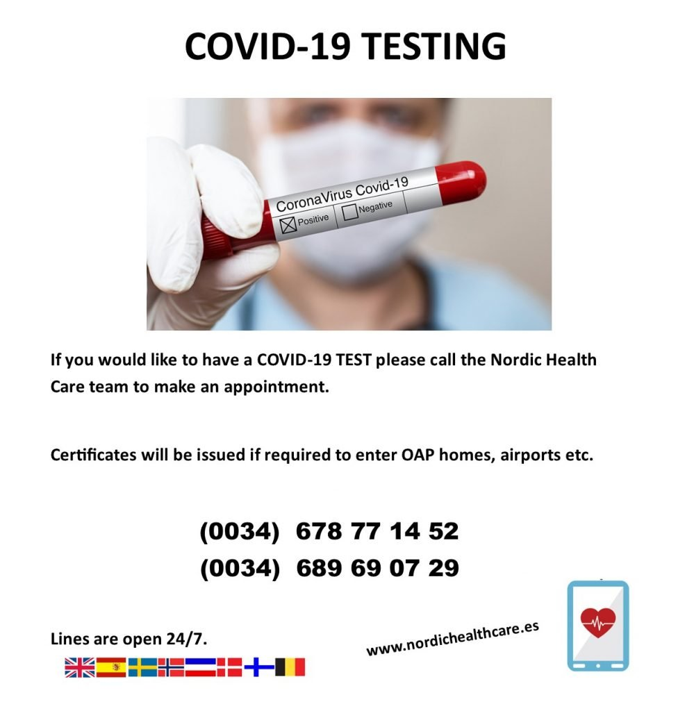 Nordic Health Care Coronavirus tests / certificates for travel or for corona symptoms. Read more on Almunecarinfo.com